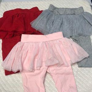 Baby Gap tutu leggings red pink gray 3-6 months
